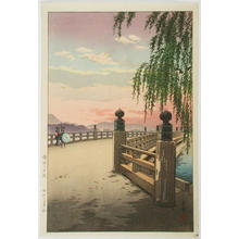 風光礼讃: Sunset Glow at Seta Bridge — 瀬田の夕暮れ - Japanese Art Open Database