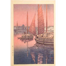 風光礼讃: Sunset at Tomonotsu, Inland Sea - variant - Japanese Art Open Database