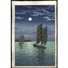 風光礼讃: Boats at Shinagawa, Night - Japanese Art Open Database
