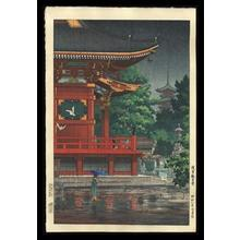 風光礼讃: Rain at Asakusa Kannon Temple - Japanese Art Open Database