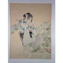 Tsutsui Toshimine: Bijin and Hydrangea - Japanese Art Open Database