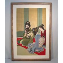 Uemura Shoen: Three bijin and drum - Japanese Art Open Database