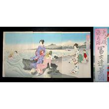 Unknown: Ooiso Sea Bathing- Distant View of Mt Fuji - Japanese Art Open Database