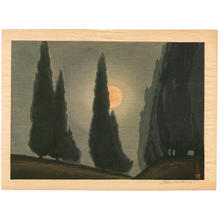 Urushibara Mokuchu: Trees in Moonlight - Japanese Art Open Database