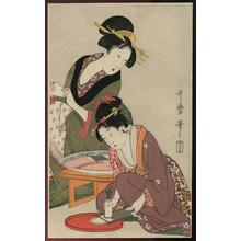 Kitagawa Utamaro: Grating a Daikon Radish - Japanese Art Open Database