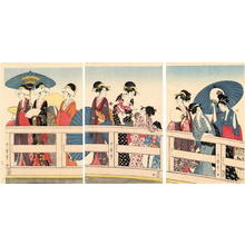 Kitagawa Utamaro: Unknown- Bijin on Bridge - Japanese Art Open Database