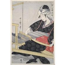喜多川歌麿: Weaving on a Loom - Japanese Art Open Database