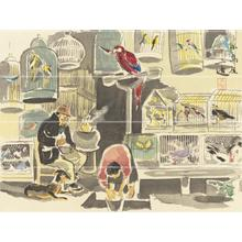 Wada Sanzo: Bird Shop — 小鳥屋 - Japanese Art Open Database