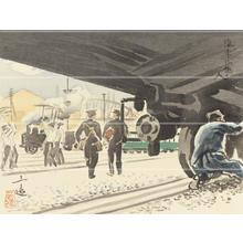 Wada Sanzo: Train driver — 汽車に働く人 - Japanese Art Open Database