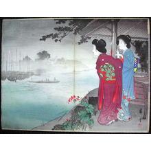 Yamamoto Eishun: Seashore landscape and two Bijin — 海辺の景色と二美人 - Japanese Art Open Database