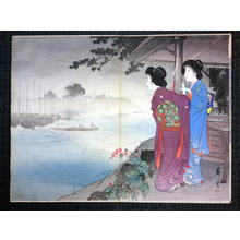 Yamamoto Shoun: Two Bijin by Seashore at Sunset — 浜辺の夕景色と二人美人 - Japanese Art Open Database