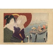 山本昇雲: Snow at the ferry landing - Japanese Art Open Database