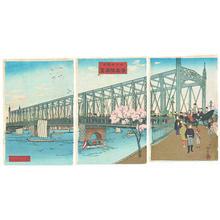 井上安治: Opening of the new Azuma Bridge in Tokyo - Japanese Art Open Database