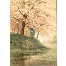 Yokouchi: Cherry trees beside river - Japanese Art Open Database
