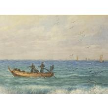 Yokouchi G: Fisherman in rolling waves - Japanese Art Open Database