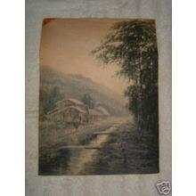 Yokouchi G: Misty village scene with stream - Japanese Art Open Database