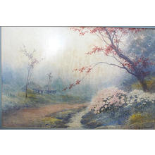 Yoshida A: Cottage by Stream with Autumn Flowers - Japanese Art Open Database
