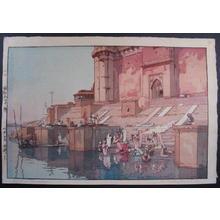 Yoshida Hiroshi: Ghat in Benares - Japanese Art Open Database