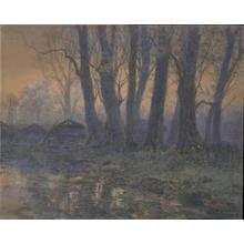 吉田博: A Cluster of Trees in the Mist — 霧の木立 - Japanese Art Open Database