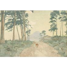 Yoshida Hiroshi: Farmhouse and figures on a tree-lined path overlooking Mt. Fuji - Japanese Art Open Database