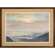 Yoshida Hiroshi: Skyscape of rolling clouds and misty mountain tops - Japanese Art Open Database