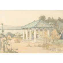 Yoshida Hiroshi: Small pavilion with figures overlooking a bayside village - Japanese Art Open Database