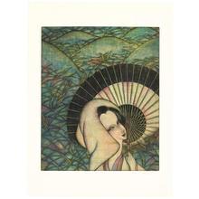 Maeda Masao: Woman with Umbrella - Japanese Art Open Database