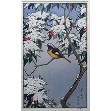 Yoshida Toshi: BIRD AND SNOW COVERED LEAVES - Japanese Art Open Database