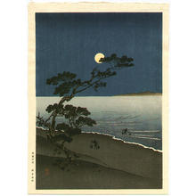 Yoshimune Arai: Moonlit Beach Scene- V1 - Japanese Art Open Database