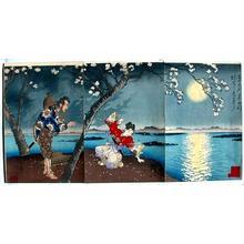 月岡芳年: Famous Places in the East- Sumidagawa- Koji of Umewaka — 東名所隅田川梅和かのふる事 - Japanese Art Open Database