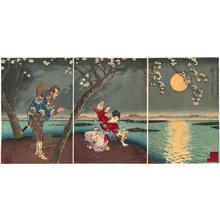 Tsukioka Yoshitoshi: Famous Places in the East- Sumidagawa- Koji of Umewaka — 東名所隅田川梅和かのふる事 - Japanese Art Open Database