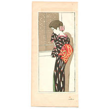 竹久夢二: Looking at Falling Snow - Japanese Art Open Database