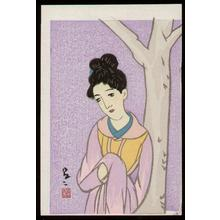 竹久夢二: Woman in Lavender - Japanese Art Open Database