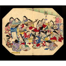 Shibata Zeshin: A comic pusuits of ladies- Fan print - Japanese Art Open Database