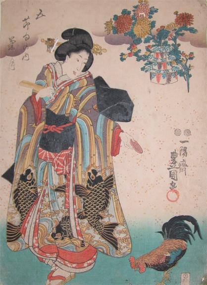 歌川国貞 month of chrysanthemums ronin gallery 浮世絵検索