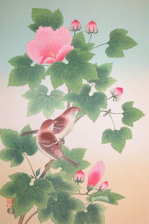 Shizuo: Cotton Rose and Sparrows - Ronin Gallery