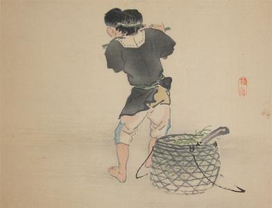 Kono Bairei: Boy with Flute - Ronin Gallery