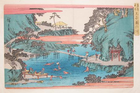 Utagawa Hiroshige: Swimming at Takinokawa at Oji - Ronin Gallery