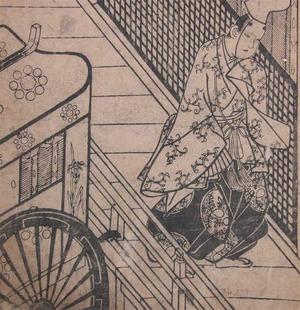 菱川師宣: Aristocrat and Imperial Cart - Ronin Gallery