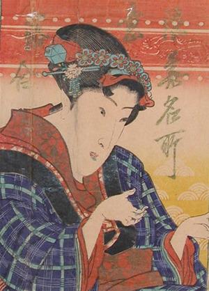 無款: Woman in Blue KImono - Ronin Gallery