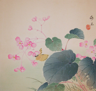 長町竹石: Begonia and a Butterfly - Ronin Gallery