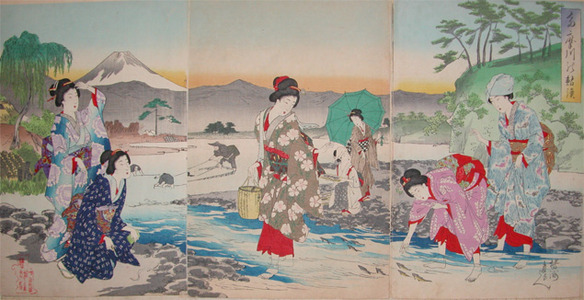 豊原周延: Catching Sweetfish in the Tama River - Ronin Gallery