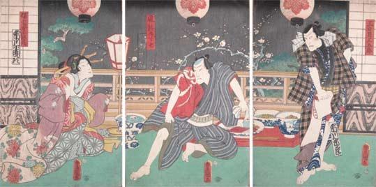 歌川国貞: Mikazuki Sangoro on a Spring Night - Ronin Gallery