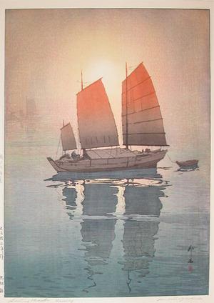 吉田博: Sailing Boats - Morning - Ronin Gallery