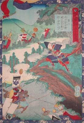 歌川芳艶: Konoshita Sokichiro with a Straw Mat Flag - Ronin Gallery