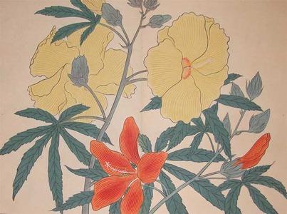 酒井抱一: Yellow and Red Hibiscus - Ronin Gallery