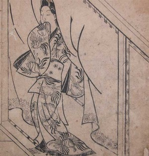 菱川師宣: Beautiful Woman Under Noren - Ronin Gallery
