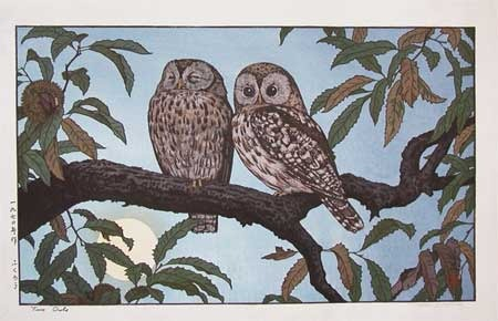 Yoshida Toshi: Two Owls - Ronin Gallery