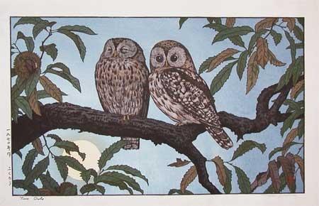 吉田遠志: Two Owls - Ronin Gallery