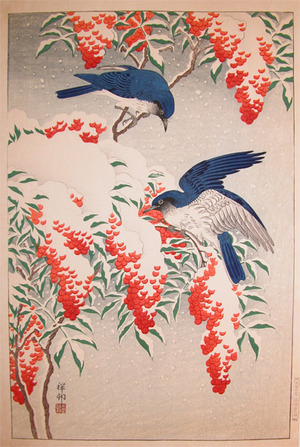 Shoson: Blue and White Flycatchers in Snow - Ronin Gallery